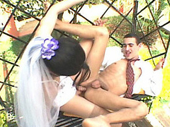 Lascivious shemale bride eagerly ramming and creaming guy