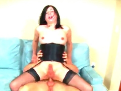 Nasty shemale Aly Sinclair is having nice pounding with man. She is going to stand in different positions feeling guys hard dong so deep into her tight backdoor hole.