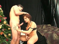 Exciting tranny and her boyfriend are having nice fuck together. Beautiful dick-girl is giving nice fellatio to man before starting to stuff ass of the dude by dick.