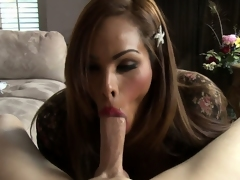 Latina shemale prostitute with big tits eats up a throbbing boner