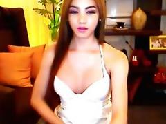 Busty Asian Blonde Shemale Masturbation