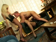 Horny muscled hunk enjoying sex crazed shemales